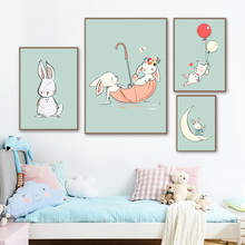 Cartoon Rabbit Wall Art Canvas Painting Nordic Posters And Prints Animals Canvas Art Nursery Wall Pictures Baby Kids Room Decor цена и фото