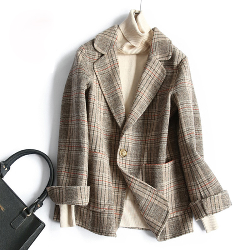 Female Coat Notched Double Sided Wool Blends Checked Plaid Woolen Women Coats Jackets