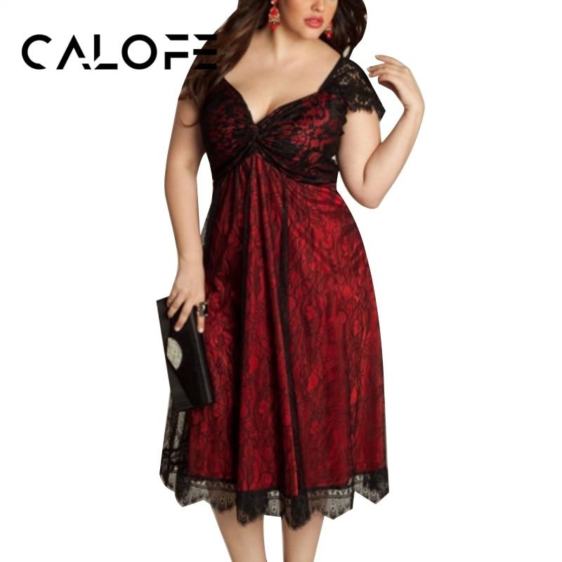 CALOFE Fashion Elegant Women Dress Retro Black Vintage Summer Sexy Lace Patchwork Gothic New Dress Plus Size 5XL Vestidos