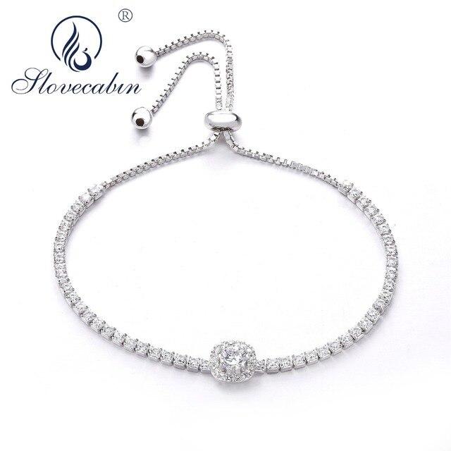 5058a1d8b Slovecabin Unique 2018 European Sparkling Strand Bracelet Clear CZ Zircon  925 Sterling Silver Female Jewelry Standards