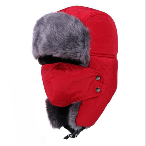 Chapéu de Esqui de Neve à Prova de Vento com o Rosto Chapéu do Esporte Caça Chapéu Earflap Inverno Quente Tampas Homens Mulheres Térmico Engrossar Flap Ear Cap Máscara