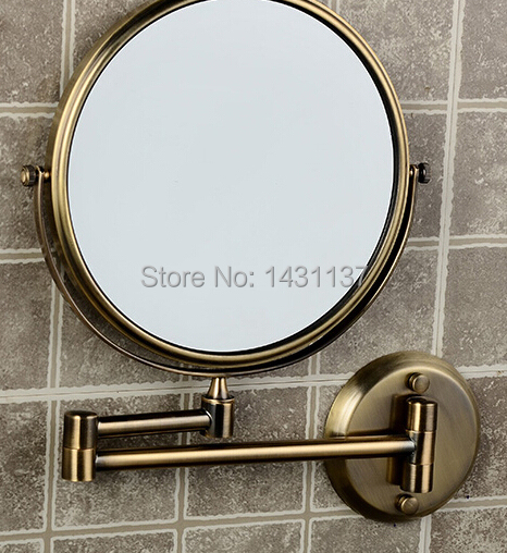 Free shipping 8 Double Side Bathroom Folding Mirror bronze Wall Mounted Extend with Dual Arm 1x3x Magnifying dressing mirror new fashion 6 inches led bathroom mirror dual arm extend 2 face metal makeup mirror 5x magnifying wall mounted extending folding