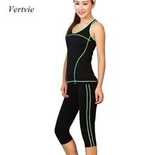 Vertvie 2 шт. Женщин Йога указан укороченный футболки + узкие леггинсы капри спортивные комплекты тренажерный зал работает Одежда фот женщин фитнес