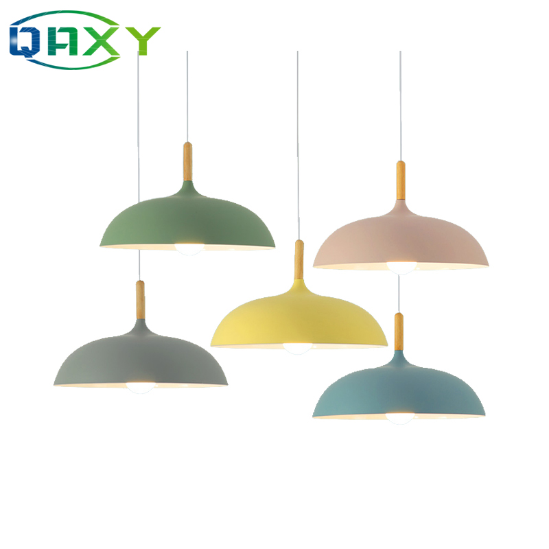 Included 12w LED Bulb As Gift Several Colors Dining Room Pendant Light Black Yellow Blue E27 Pendant Lamps For Bedroom Hotel