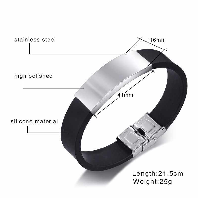 Vnox Father's Day Gift to Dad Soft Silicone Bracelet for Men Adjustable Length Stainless Steel ID Bar Customize Engraving Bangle