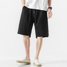 MJARTORIA Mens Summer Casual Shorts Korean Fashion Loose Black Navy Shorts Men Cotton Solid Knee Lengeh Short Sweat Joggers 5XL