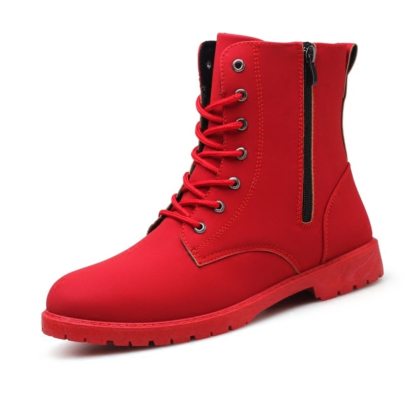Red High Top Mens Army Boots Korean Zipper Men's Boots British Red Mens Snow Winter Boots Cowboy Boots For Mens Exquisite (In) Workmanship