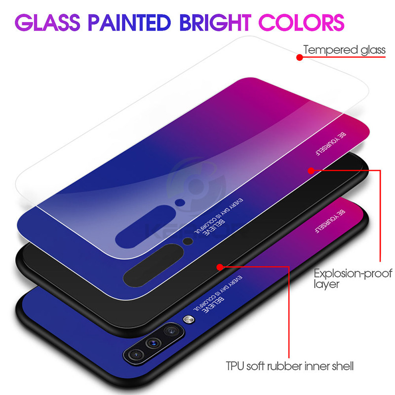 Keajor Gradient Tempered Glass Case For Samsung Galaxy A50 Case Luxury Back Cover Silicon Hard Bumper For Samsung A30 A 30 Funda in Fitted Cases from Cellphones Telecommunications