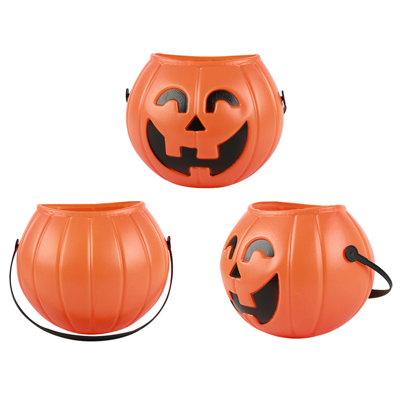 plastic halloween pumpkin bucket pot candy holder trick treat cosplay decor pouch holder halloween party props - Plastic Pumpkins