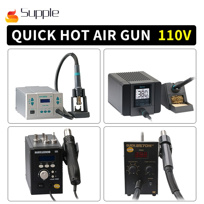 Supple QUICK 2008 857DW+ 861DW TS1100 TS1200A 110V Hot Air work station soldering station Lead Free Adjustable Hot Air Heat Gun original quick 861dw hot air rework station 1000w 220v heat gun lead free soldering station fix phone repair bga chip ic tools