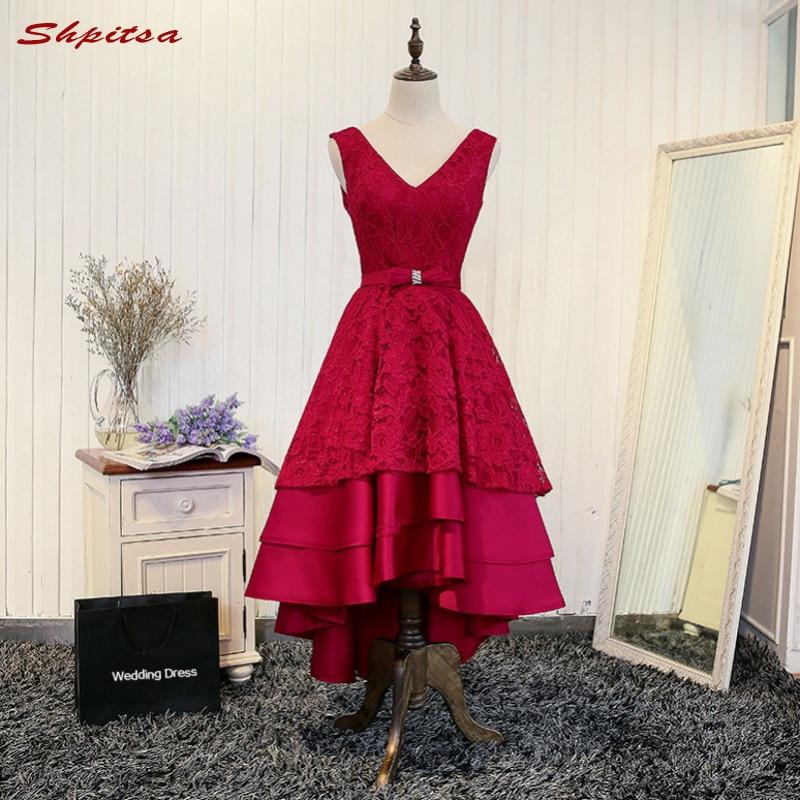 Red Short Lace Cocktail Dresses Women for Graduation Prom Party Coctail Dress vestido de festa curto coctel