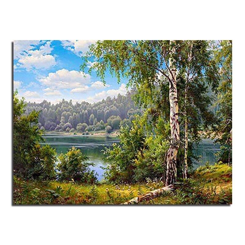 Озеро с березами вышивка