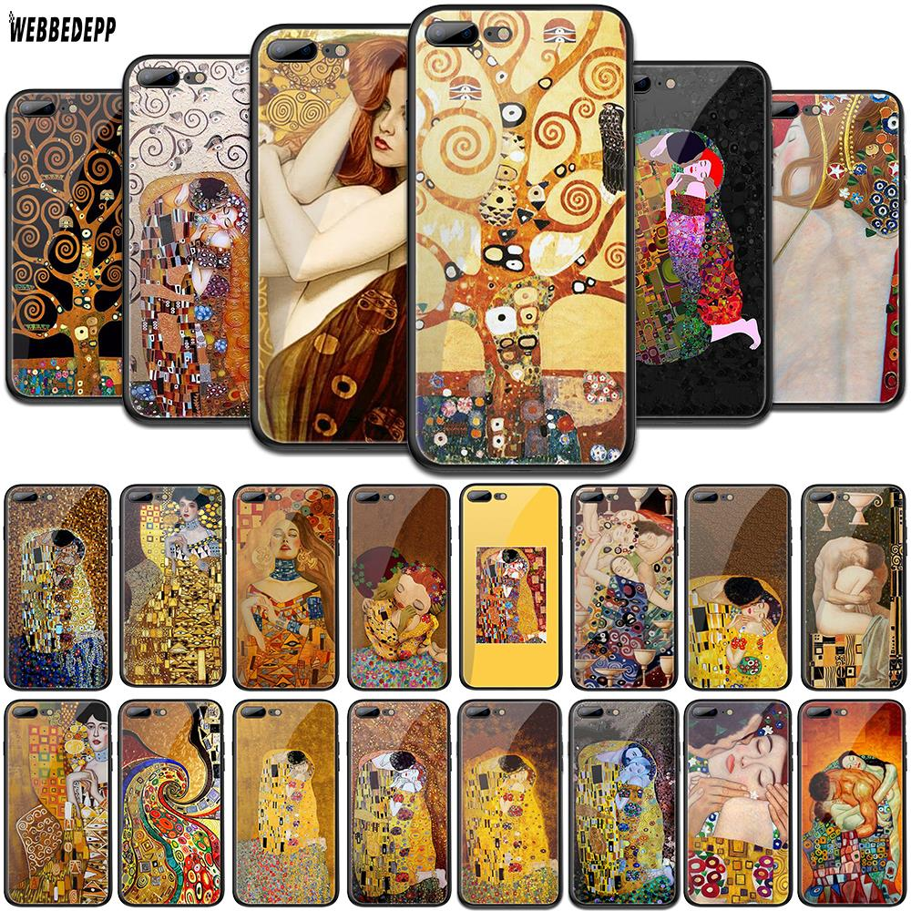 WEBBEDEPP Kiss by Gustav Klimt Design Tempered Glass TPU Cover for Apple iPhone 6 6S 7 8 Plus 5 5S SE XR X XS 11 Pro MAX Case