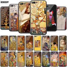 WEBBEDEPP Kiss by Gustav Klimt Design Tempered Glass TPU Cover for Apple iPhone 6 6S 7 8 Plus 5 5S SE XR X XS 11 Pro MAX Case webbedepp hot red dead redemption 2 glass phone case for apple iphone xr x xs max 6 6s 7 8 plus 5 5s se