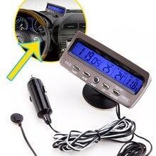 Detector de voltaje temperatura pantalla Lcd de Coches Auto pantalla digital termómetro de reloj de alarma de Control de alarma