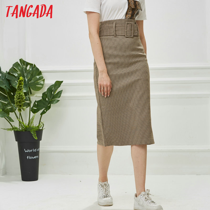 Tangada fashion women plaid skirt vintage work office ladies skirt with belt mujer retro mid calf skirts BE175 7