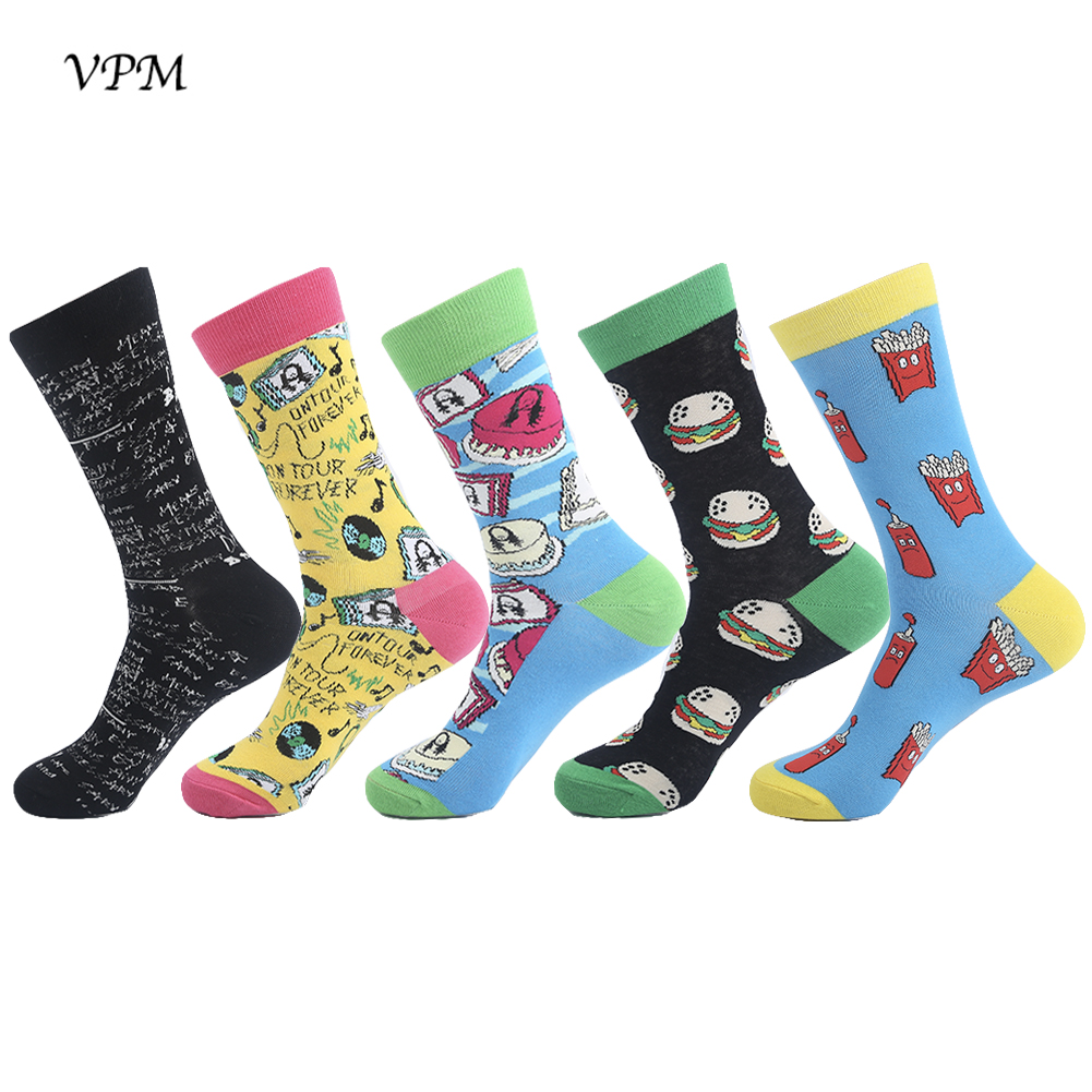 VPM Mens Colorful Socks Food Hamburger Coke Mathematical formula Funny Happy Harajuku Hip Hop for Men 5 Pairs/Lot