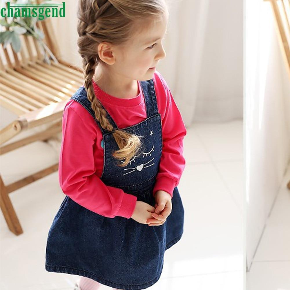 CHAMSGEND Fashion blue Toddler Kids Baby Girl character Cat Denim Print Princess Dress Sleeveless Overalls Dress jul25 P30