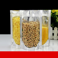 50pcs 300pcs/lot Half Transparent Large Stand Up With Zipper Pouch Food Pack , Plastic Packing Bags , Candy Pouch