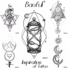 Geometry Rhomboid Temporary Male Tattoo Galaxy Moon Star Hourglass Tatoos Body Art Waterproof Arms Legs DIY Fake Tattoo Stickers(China)