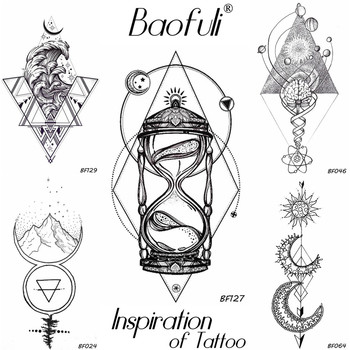 Geometry Rhomboid Temporary Male Tattoo Galaxy Moon Star Hourglass Tatoos Body Art Waterproof Arms Legs DIY Fake Tattoo Stickers image