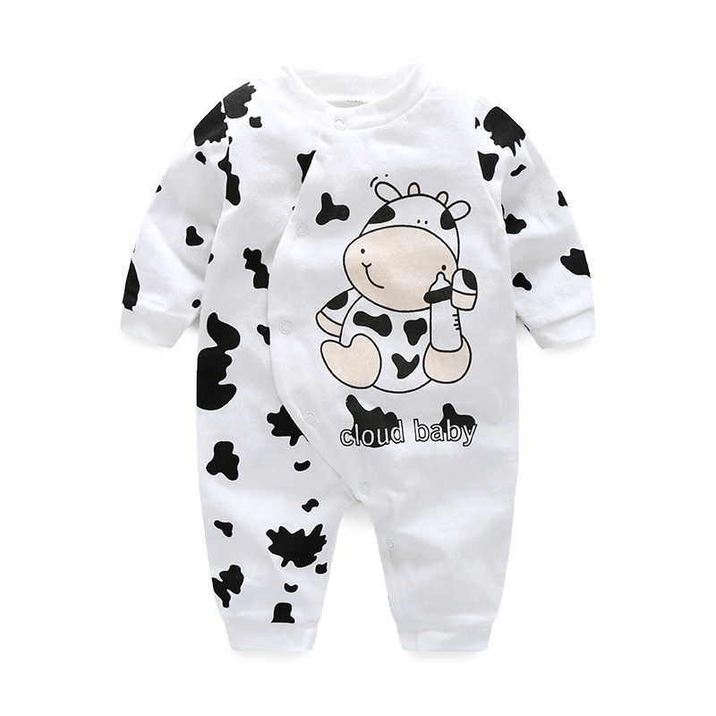Godier Newborn Baby Boy Girls Clothes 100% Cotton Long Sleeve Baby Rompers Soft Infant Toddler Clothing Set Cute Cow Jumpsuits