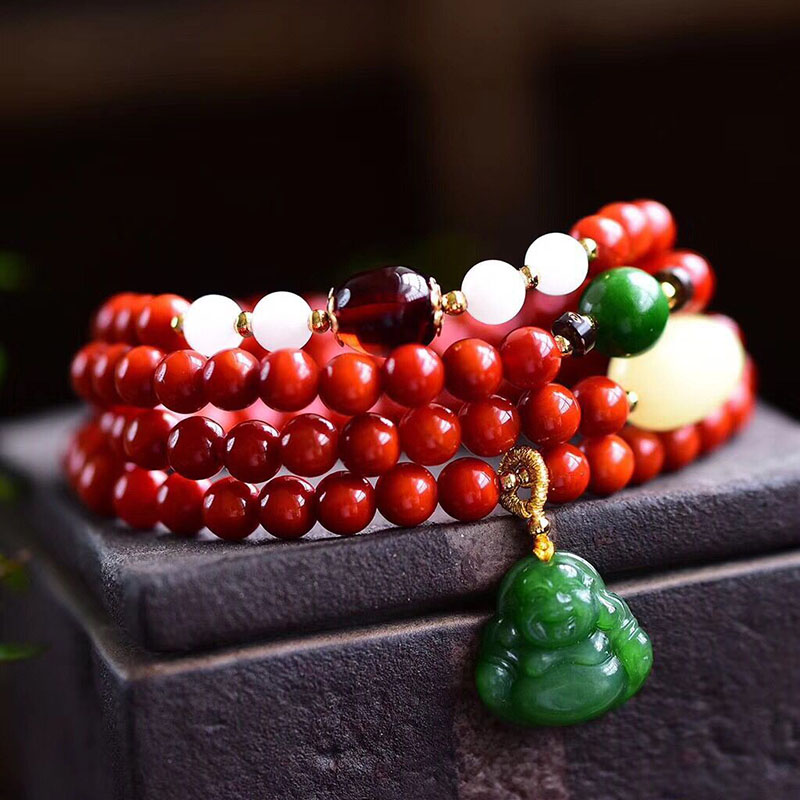 Wholesale JoursNeige Red Crystal Bracelets 6mm Round Beads Laughing Buddha Pendant Bracelet for Women Crystal Bracelet Jewelry 4 6mm natural garnet wrap bracelet silver red wine charms bracelet round beads bracelets for women