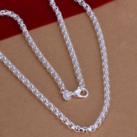 wholesale 2014 New Fashion silver plated Chain Round Box Chain Necklaces Pendants For Women Men jewelry SMTN053