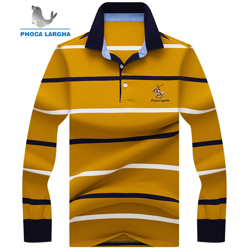 New Men's Striped   Polo   Shirts High Quality Tops For Man Long Sleeve Shirts Embroider Slim Fit Business Casual Brand   Polos   Male