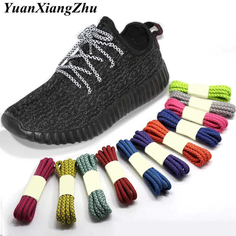 1 çift Floresan Ayakkabı Shoestrings Spor Ayakabı 3M Yansıtıcı yuvarlak halat Ayakkabı Bağcıkları Uzunluğu 100/120/140/ 160CM Ayakabı Led