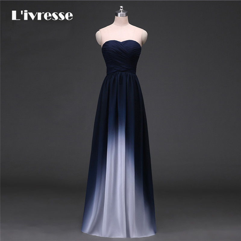 New Arrival Gradient Chiffon Prom Dress Evening Dress Strapless Ombre Dress Navy Blue Real Photo