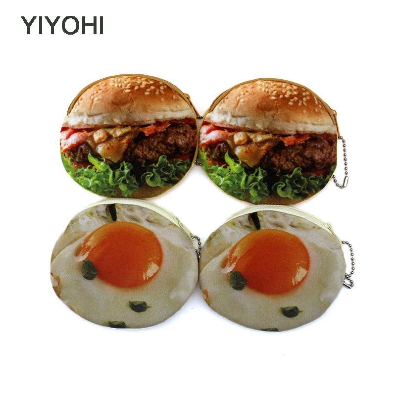 YIYOHI New Cute Style Novelty 3D Printing Zipper Plush Coin Purse Kawaii Children Coin Purse Women Wallet Mini Handbag