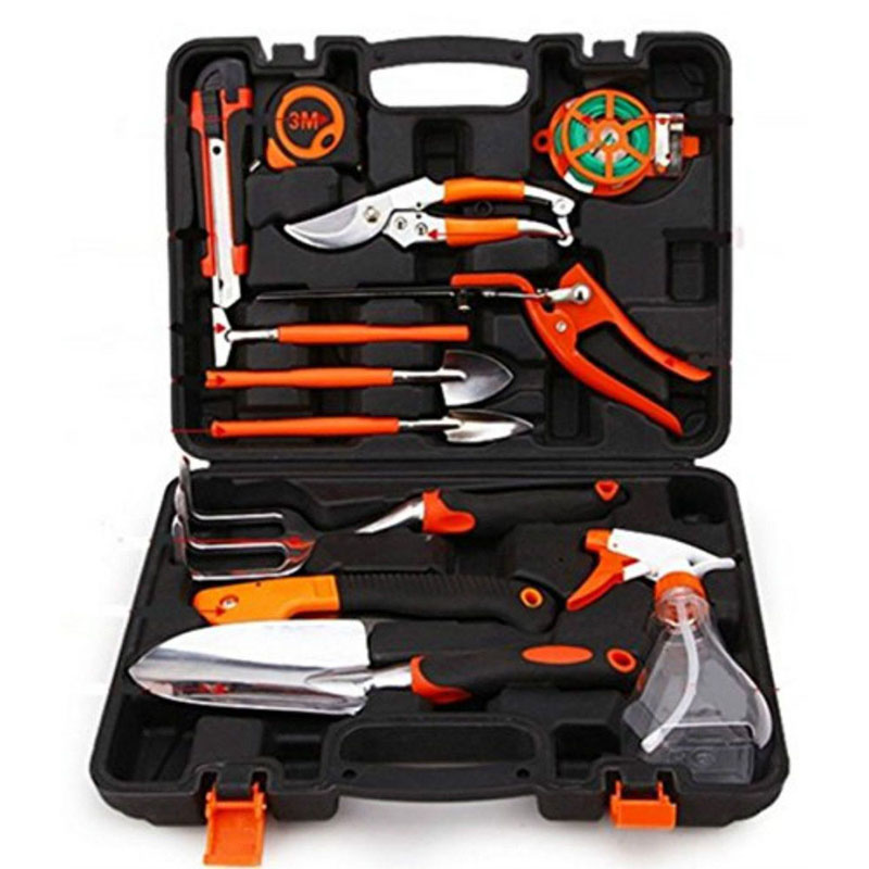 13pcs household gardening tools kit rake shovel saw pruner Garden Home Tool Set Kit Box Repair Hard Case DIY Handy fleshy cylindrical tube shovel plastic bucket meat such as planting more essential gardening tools wholesale