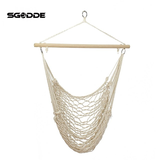 single person hammock chair make your own rocking cushions sgodde outdoor hanging chairs swing cotton rope net cradles kids adults ...