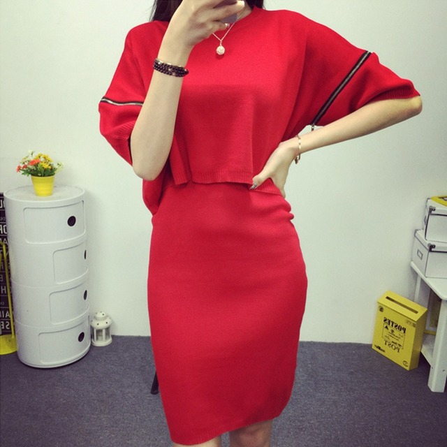 Women two piece set top and skirt Korean style knitted slim loose batwing sleeve tops+bodycon pencil sweater skirt stretch suit
