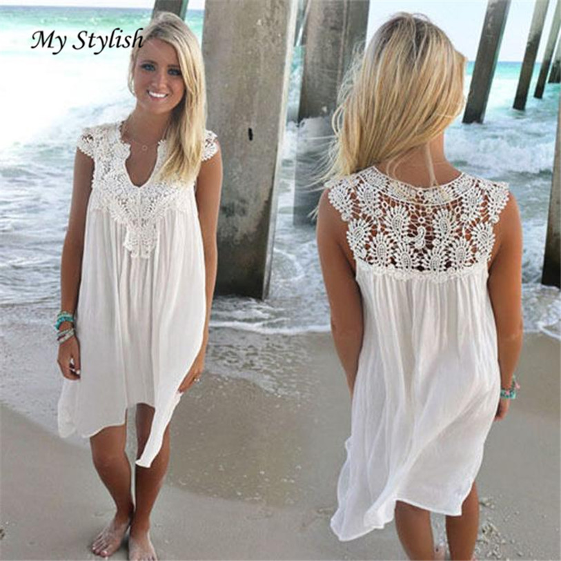 1PCS Women Dress Summer 2017 New Fashion Sleeveless Womens Loose Summer Beach Lace Dress High Quality Wholesale Plus Size Jan 9