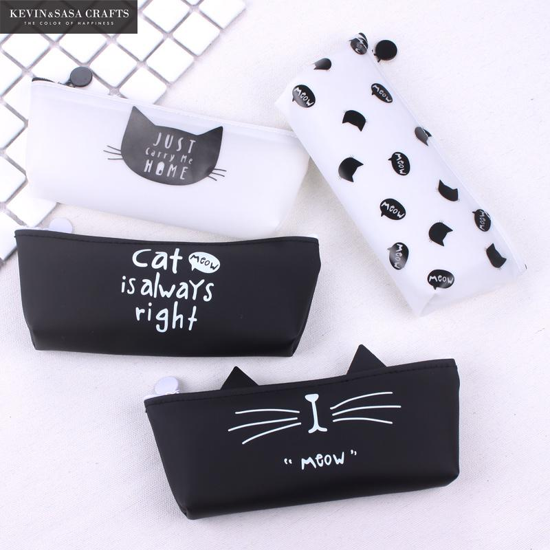 купить Cat Pencil Case Silica Gel School Supplies Bts Stationery Gift School Cute Pencil Box Pencilcase Pencil Bag School Tools Kawaii по цене 157.07 рублей