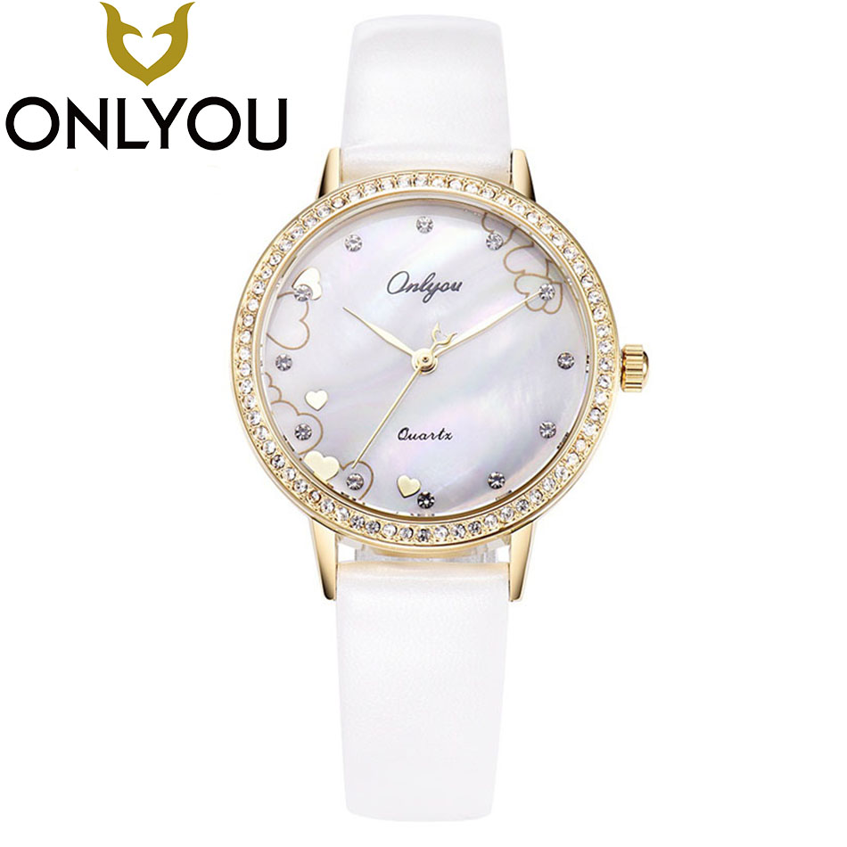 ONLYOU  Women Watches  Brand Fashion Dress Ladies Watches Leather Women Analog Waterproof Quartz Wrist Watch Wholesale 2017