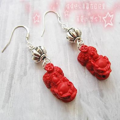 Perfect Luck Mychical Wild Animal Red Carved Cinnabar Earrings Fashion Women S Lacquerware 925 Silver Dangle Earring In Drop From Jewelry