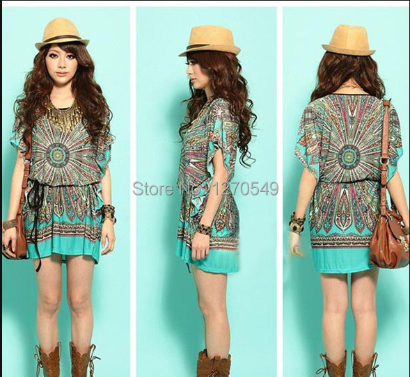 Novelty Boho Print Dresses 2014 Summer Wear Women Casual Dress