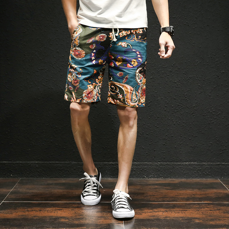 2018 summer new Hawaiian style flower beach shorts men's cotton linen elastic waist large size casual shorts M-5XL