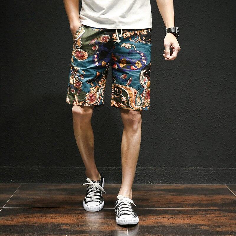 2020 Summer New Hawaiian Style Flower Beach Shorts Men's Cotton Linen Elastic Waist Large Size Casual Shorts M-5XL