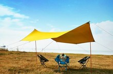 ASTA GEAR Lightweight Outdoor Skylight Sunshade and Rain-proof Camping Canopy New 3.5*4 Silver Silicon