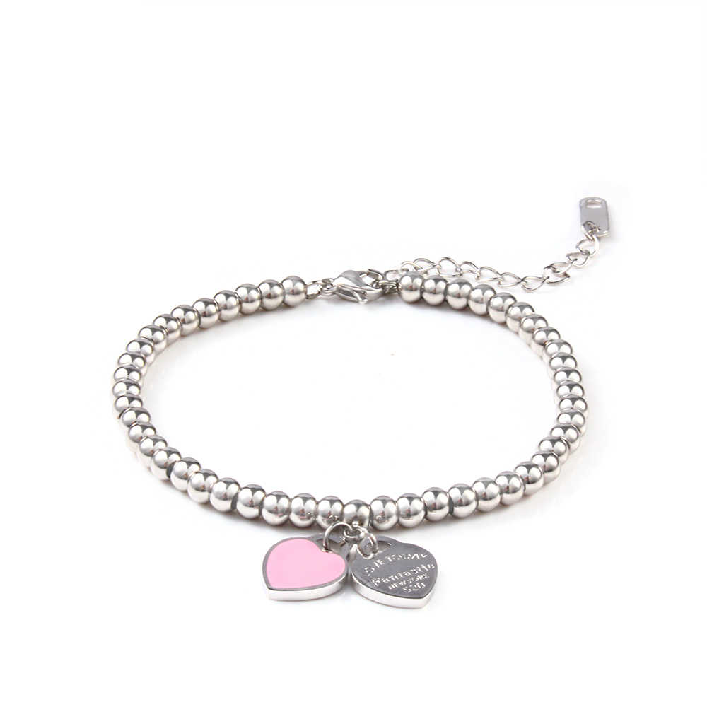 charms heart bracelet& bangles beads femme gifts bracelet for women female stainless steel jewelry braslet silver gift