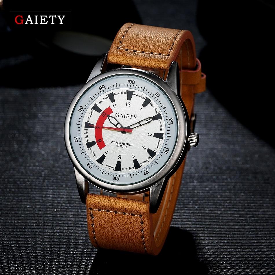 Gaiety Brand Watches Men Stainless Steel Fashion Silver Wristwatch Casual Business Sport Watch Leather Strap Clock Quartz Watch