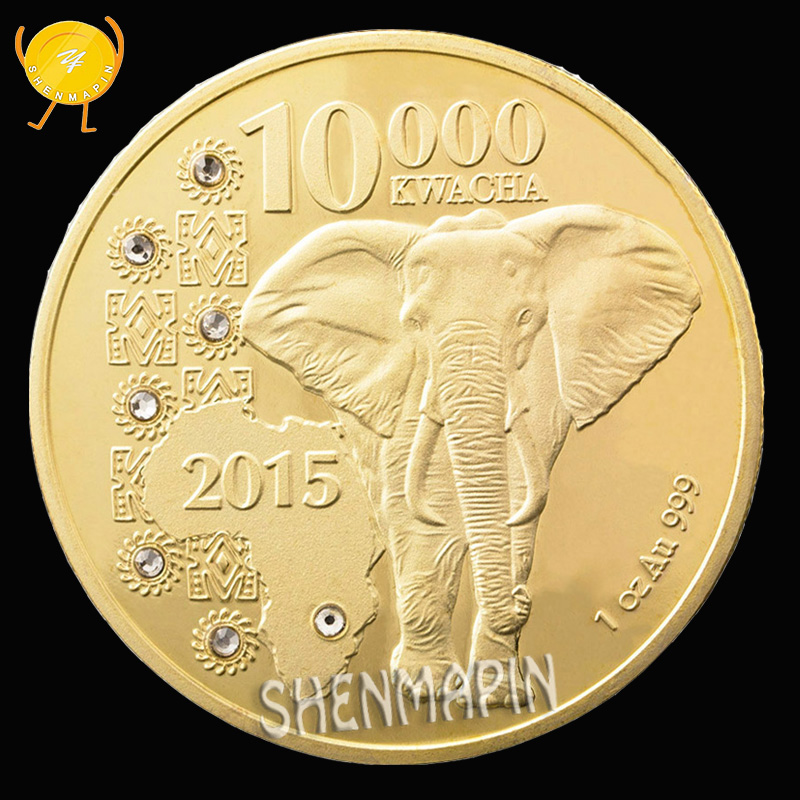1 Oz Au 999 Gold Zambia 10000 Kwacha Commemorative Coin Republic of Coins Collectibles Diamond-Set Elephant