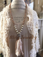 Neutral Sari Silk Tassel Necklace Knotting Faceted Rondelles Sunstone Necklace Shabby Bohemia Hippies Jewelry N17081632