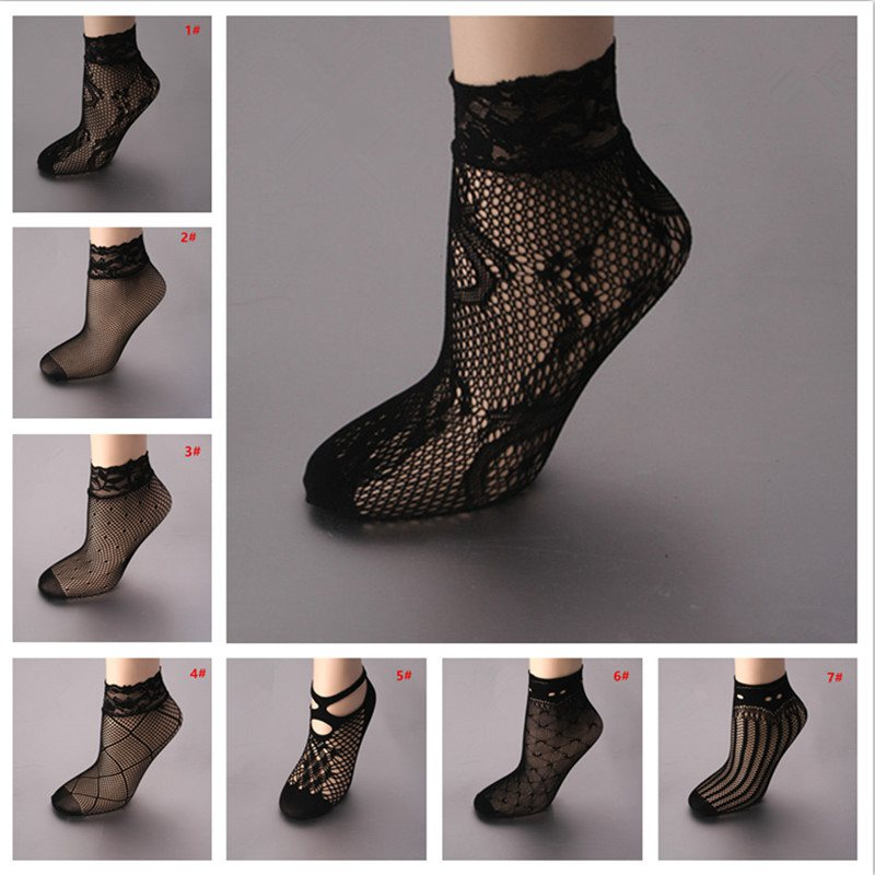 5 Pair Women Fashion Sexy Black Fishnet Mesh Lace Ruffle Socks Ladies Short Ankle Ultrathin Transparent Nylon Socks YLM9742