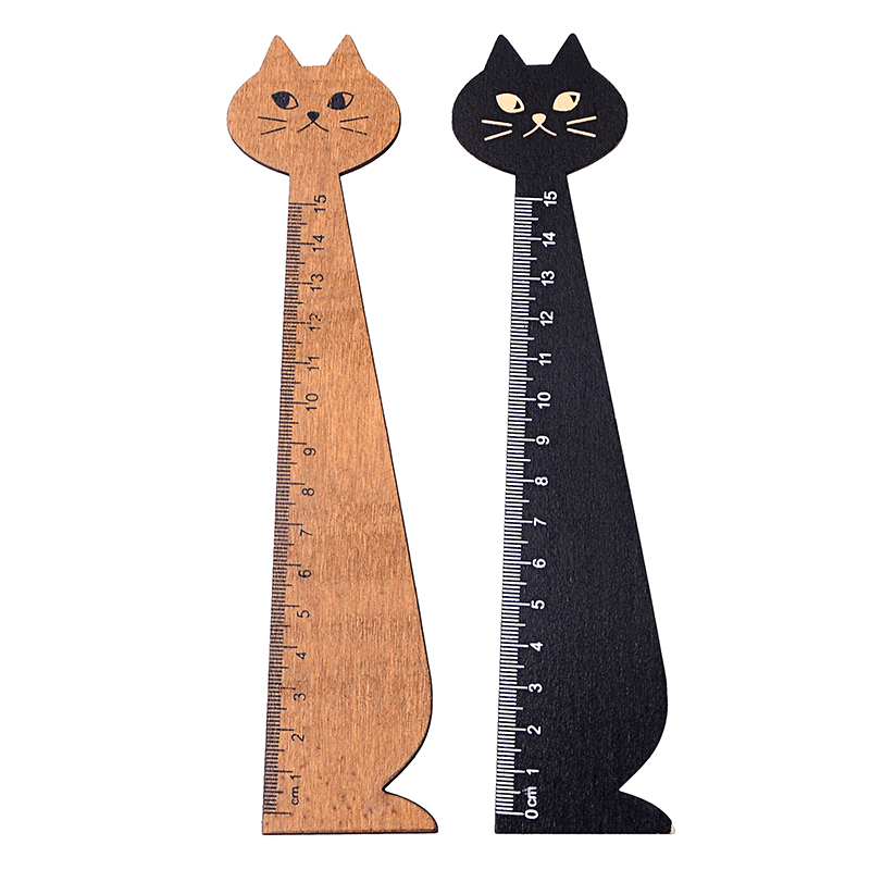 Kawaii Cartoon Cat Ruler Cute Woodewn Straight Rulers Office Supplies Gift For Kids School Supplies Stationery 15cm