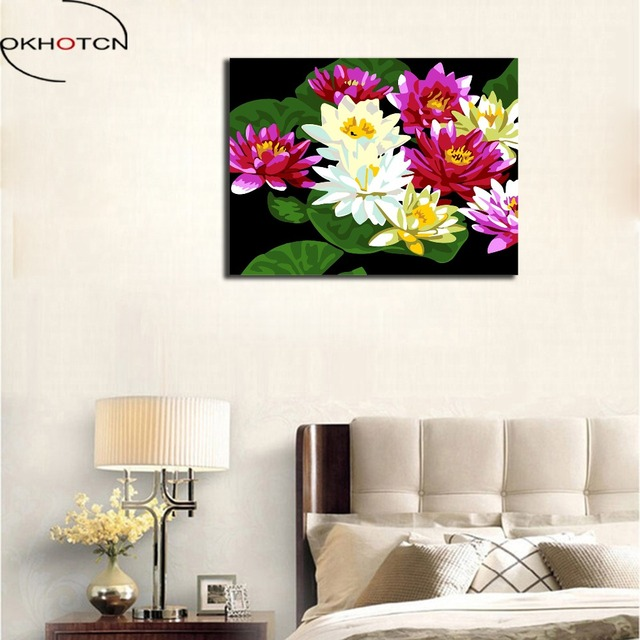 Okhotcn Diy Oil Drawing By Numbers Flowers Lotus In Water Pictures